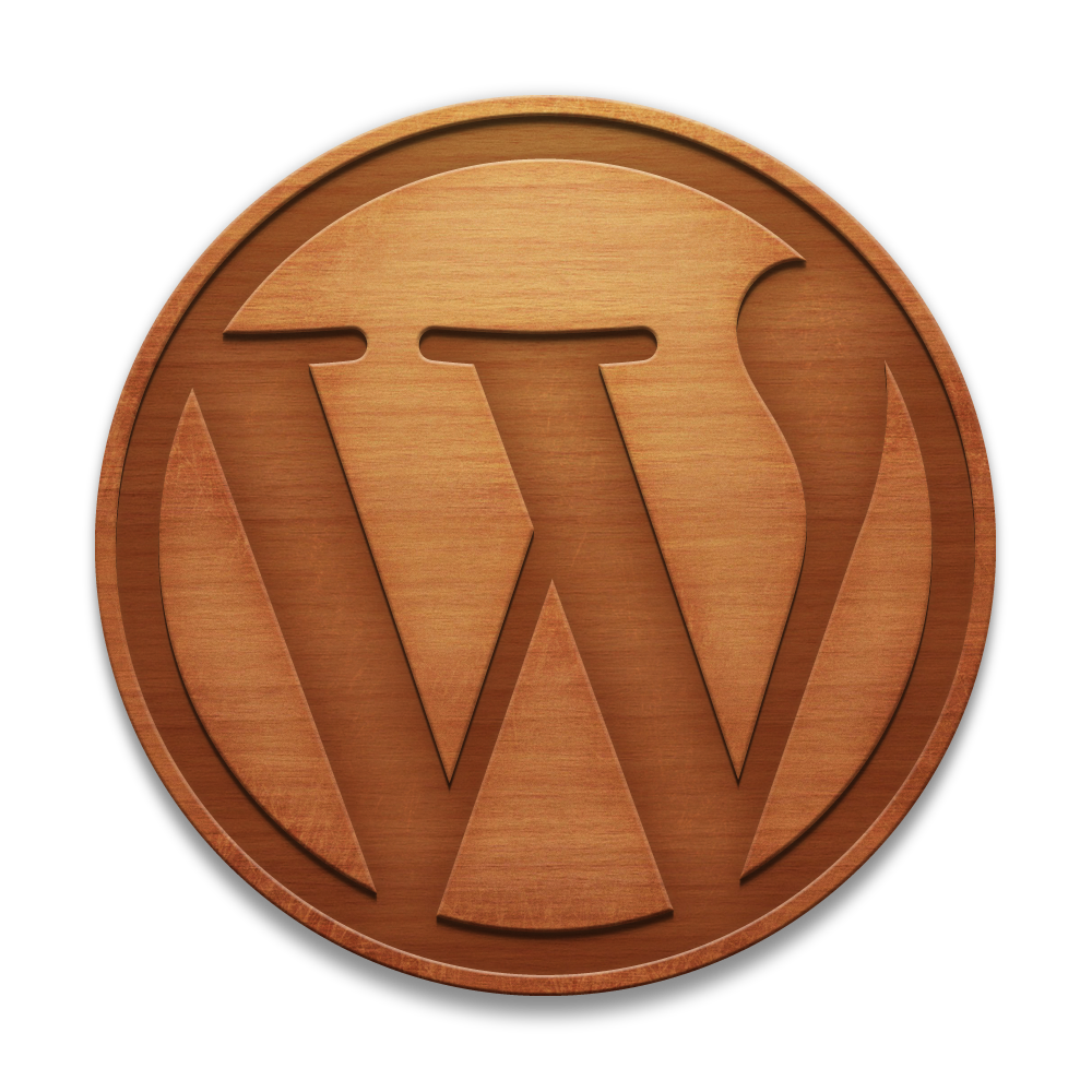 Wood-effect WordPress logo
